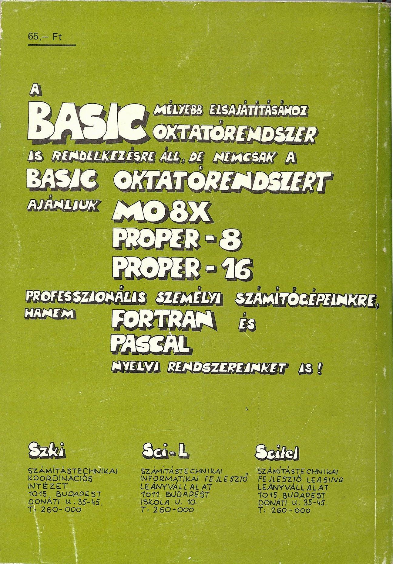 Ismerd meg a BASIC nyelvjárásait ZX Spectrum TI-994A Proper 16A hátoldal