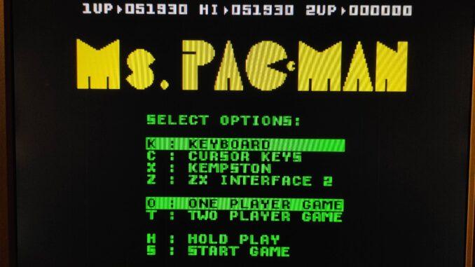 MS PacMan menü Zimi rekordjával